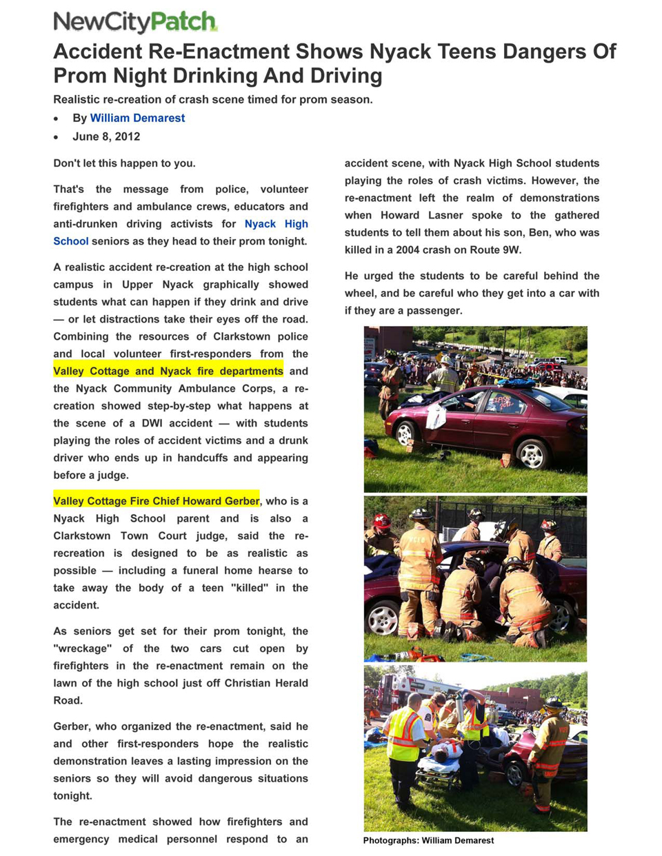 News Nyack HS DUI Demo 06/08/2012